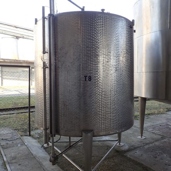 8,000 Litre Stainless Steel Vertical Storage Vessel, 2210 mm Dia. x 2000mm Straight Side