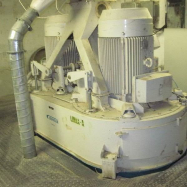 150 kW Buhler Model DFZH 2 Carbon Steel Vertical Twinshaft Hammer Mill