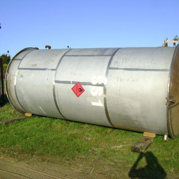 18,000 Litre 316 Stainless Steel Vertical Storage Tank, 2100mm Dia x 5000mm Straight Side