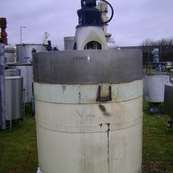 1,800 Litre Stainless Steel Vertical Mixing Vessel, 1448mm Dia x 1600mm Straight Side