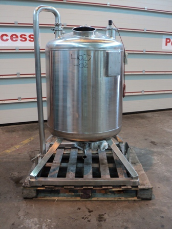344 Litre 316L Stainless Steel Vertical Agitated Vessel, 700mm Dia x 600mm Straight Side