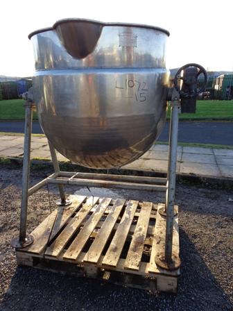 400 Litre Stainless Steel Jacketed Pan, 900mm Dia x 600mm Straight Side