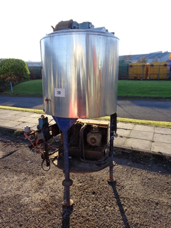 710 Litre Giusti Stainless Steel Vertical Mixing Vessel, 1000mm Dia x 900mm Straight Side