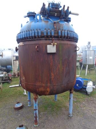 2,270 Litre, 6 Bar Internal, 7.59 Bar Jacket, Pfaudler Balfour Glass Lined Reactor Body