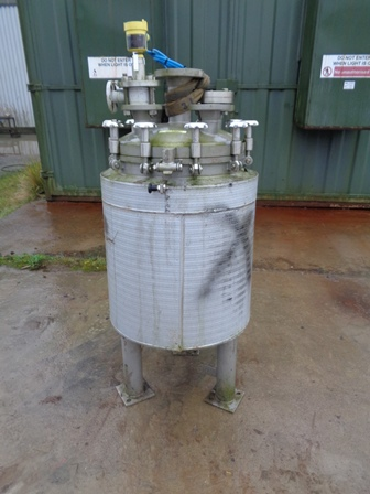 100 Litre 316L Stainless Steel Vertical Vacuum Receiver Vessel, 500mm Dia x 600mm Straight Side