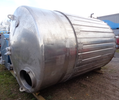 11,000 Litre Stainless Steel Vertical Jacketed Storage Vessel, 2200mm Dia x 3300mm Straight Side