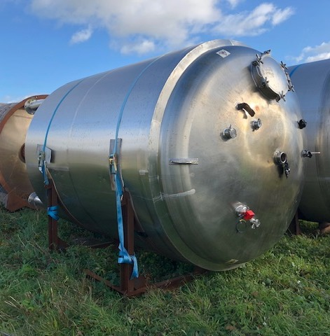 15,000 Litre Stainless Steel Vertical Storage Tank, 2450mm Dia x 3200mm Straight Side
