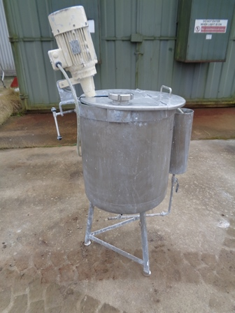 100 Litre Stainless Steel Vertical Mixing Vessel, 500mm Dia x 500mm Straight Side