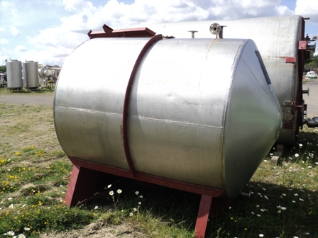3,500 Litre Stainless Steel Horizontal Storage Vessel, 1600mm Dia x 1820mm Straight Side