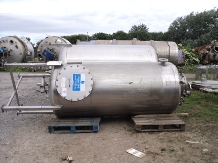 2,500 Litre Giusti Stainless Steel Vertical Mixing Vessel, 1200mm Dia x 2400mm Straight Side