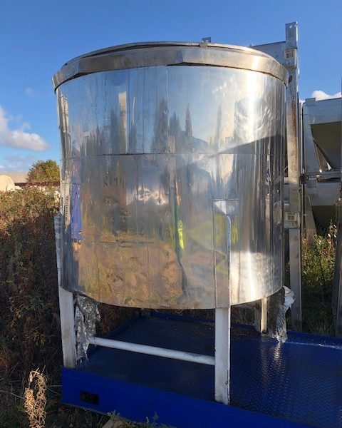 1,500 Litre Stainless Steel Vertical Tank, 1300mm Dia x 1100mm Straight Side