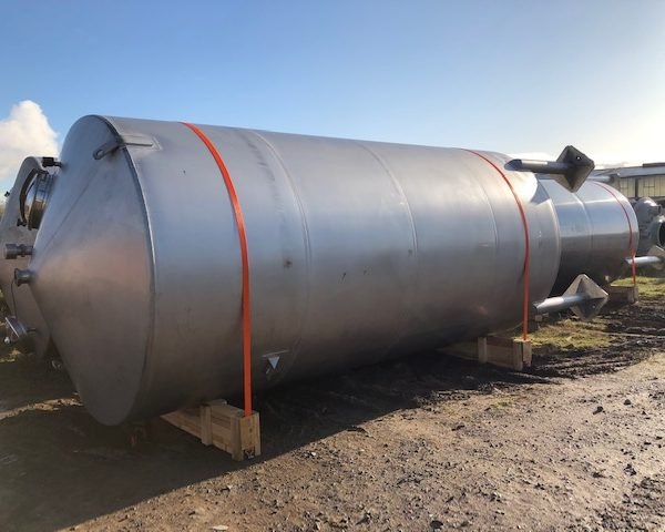25,000 Litre Stainless Steel Vertical Tank, 2500mm Dia x 5000mm Straight Side