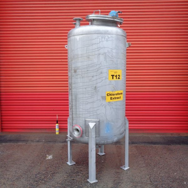 1,000 Litre Mcmillan Stainless Steel Vertical Storage Vessel, 1000mm Dia x 1500mm Straight Side