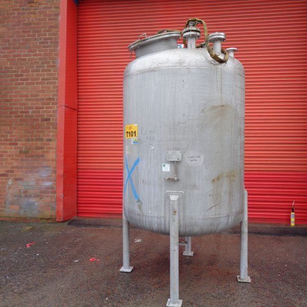 3,000 Litre Forfab Stainless Steel Vertical Storage Vessel, 1500mm Dia x 1550mm Straight Side