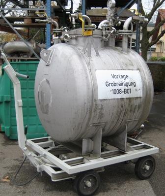 1,000 Litre Stainless Steel Horizontal Storage Vessel