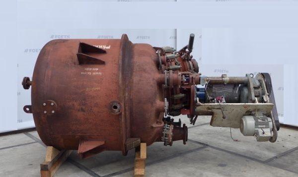 2165 Liter 6 Bar Internal, 5.9 Bar Jacket Pfaudler Glass Lined Reactor