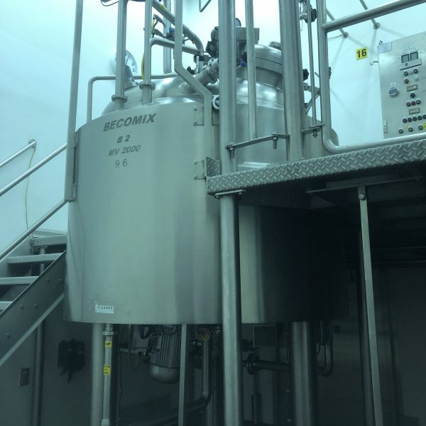 2,000 Litre Becomix Type MV-2000 Stainless Steel Pre-Mix Vacuum Processing Vessel