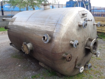 6,870 Litre Stainless Steel Vertical Storage Vessel, 1800mm Dia x 2650mm Straight Side