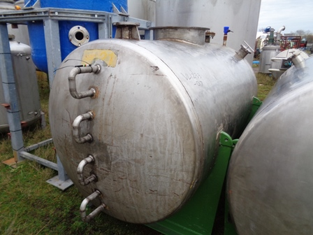 2,000 Litre Stainless Steel Horizontal Storage Tank, 1200mm Dia x 1850mm Straight Side