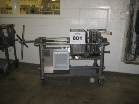 16″ x 16″ Ertel 304 Stainless Steel Plate and Frame Filter Press on Movable Cart