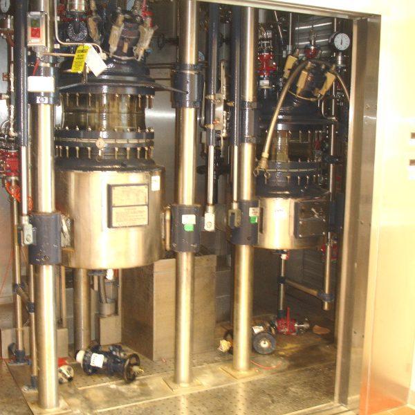 26 Gallon 150 FV Internal, 150 Jacket R&M Italia Glass Lined Reactor Train
